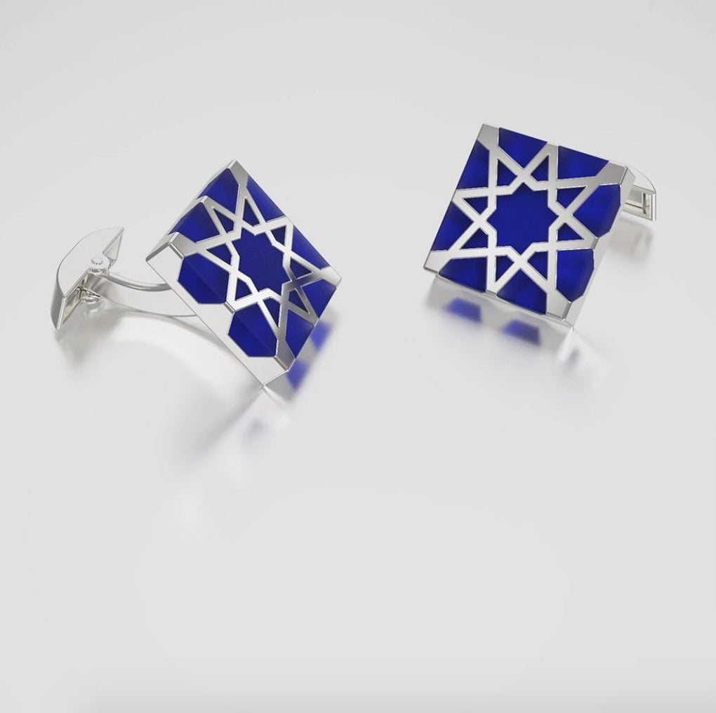 Melaka Sterling Silver Cufflinks - Imperial Blue Cufflinks Forbidden Hill