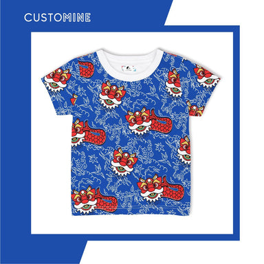 Merlion Dance Kid's T-Shirt Local Baby Clothing CUSTOMINE 1-3Y Blue