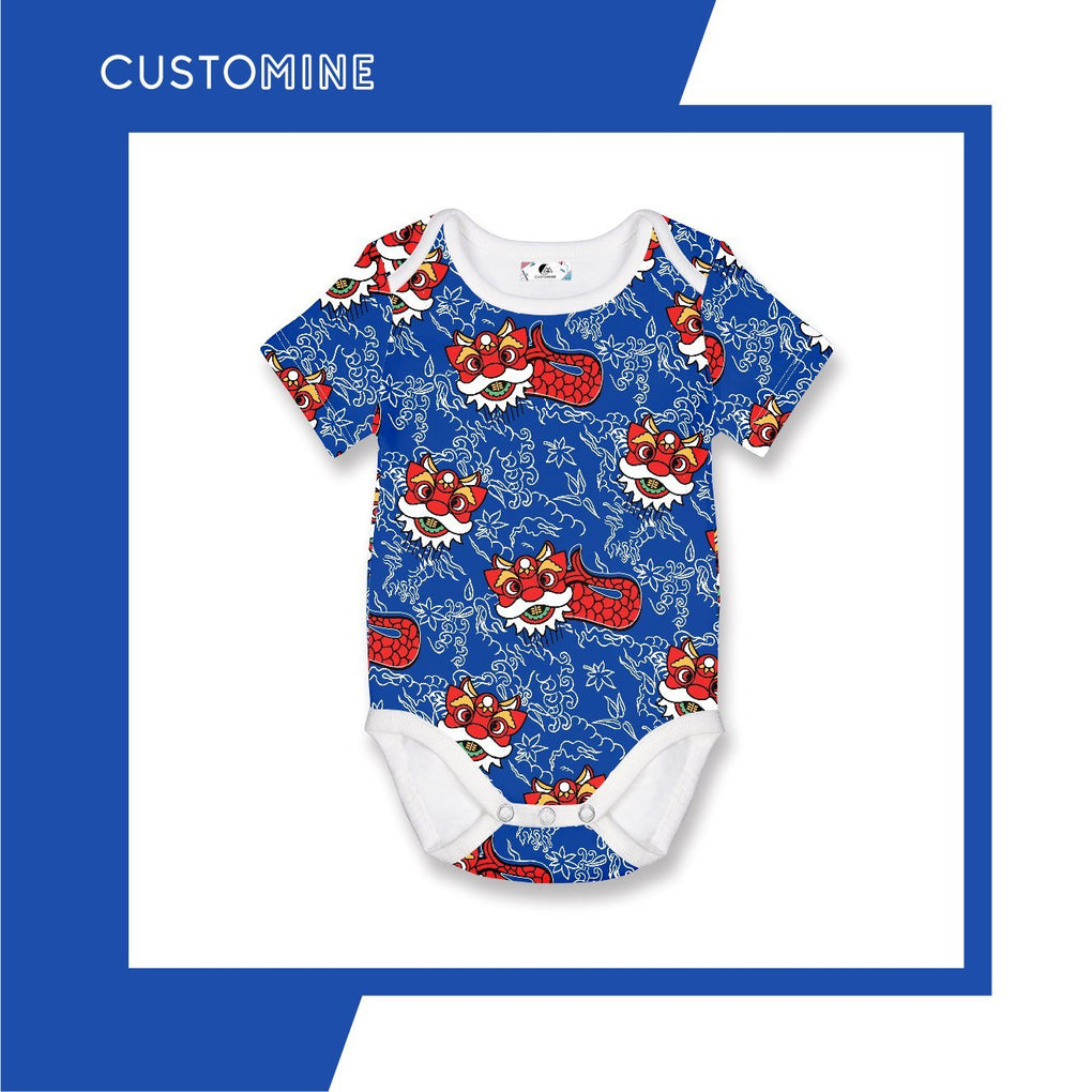 Merlion Dance Romper Local Baby Clothing CUSTOMINE 0-3M Blue