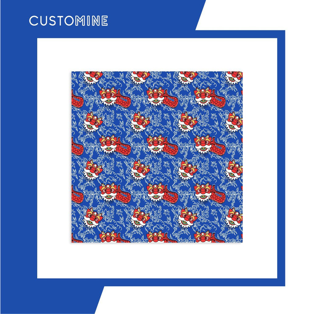 Merlion Dance Scarf Local Scarves CUSTOMINE 90cm*90cm Blue