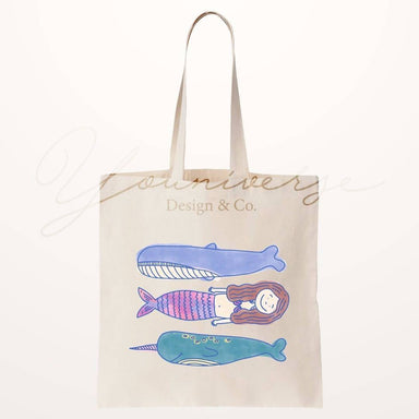 Mernarwhale Totebag - Tote Bags - YOUNIVERSE DESIGN - Naiise
