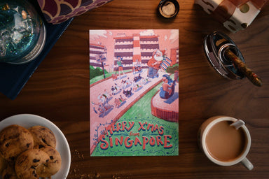 Merry Xmas from SG Postcards - Kitty Sled (Single) Local Postcards Dale Lam