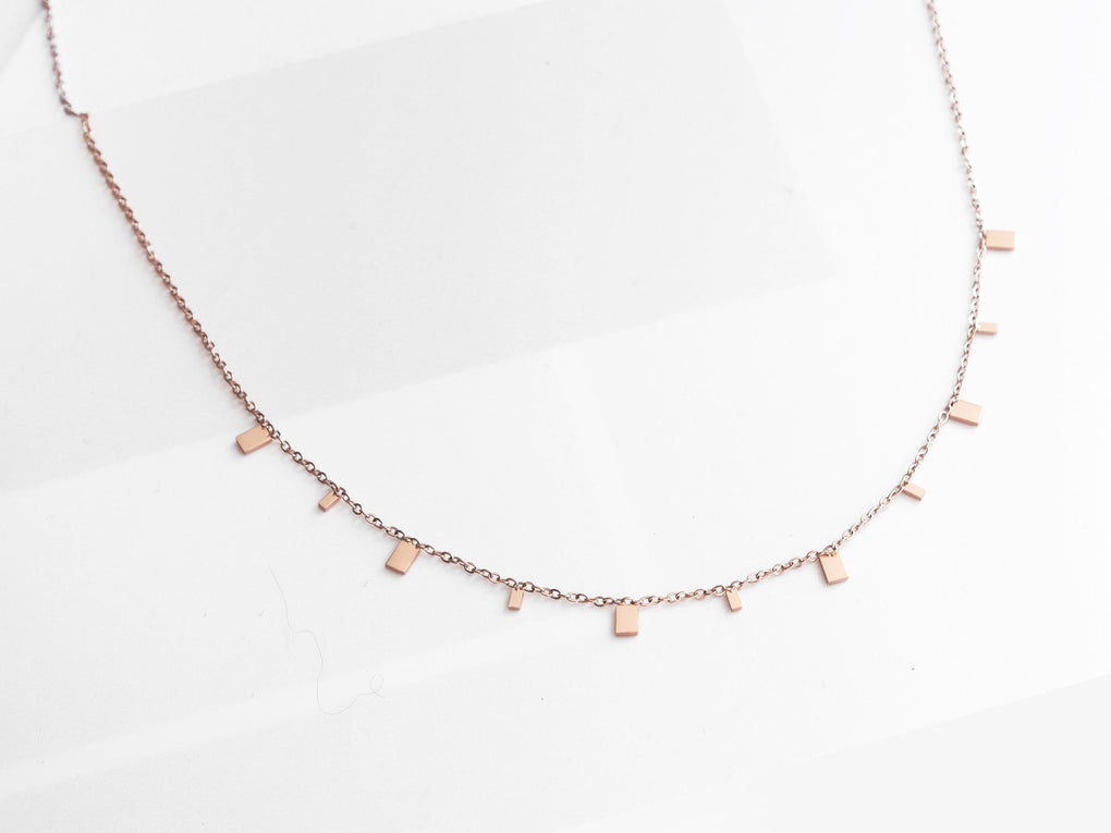 Mini Rectangle Necklace In Rose Gold Necklaces MADEGREY