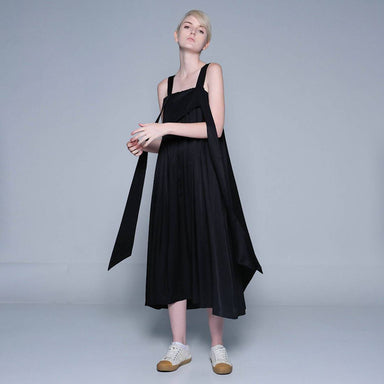 Mizuki Long Strap Midi Dress in Obsidian Black - Dresses - Salient Label - Naiise