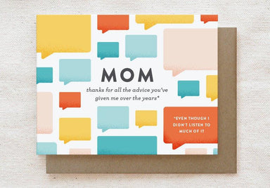 Mom Advice - Mother's Day, Mother's Birthday Greeting Card - Cards for Mothers - Quirky Paper Co. - Naiise