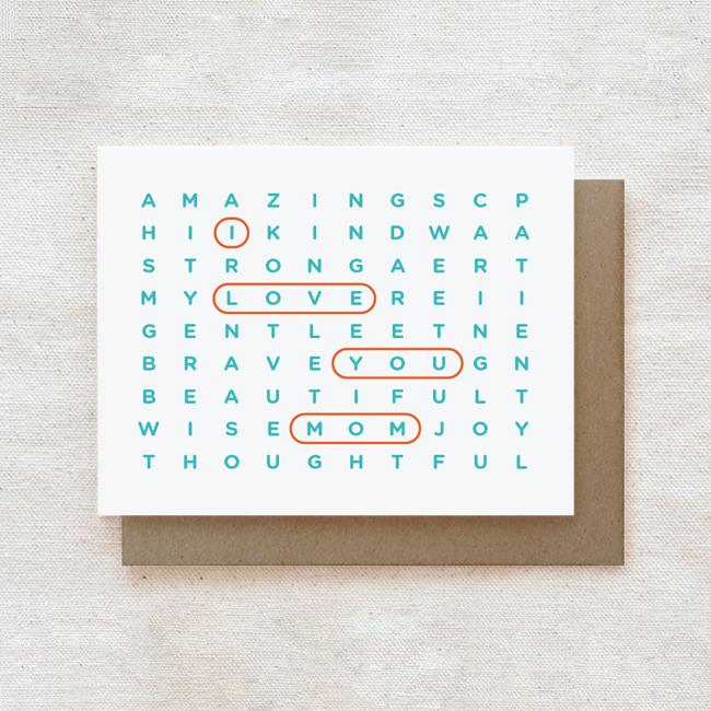 Mom Wordsearch - Mother's Day, Mother's Birthday Greeting Card Cards for Mothers Quirky Paper Co.