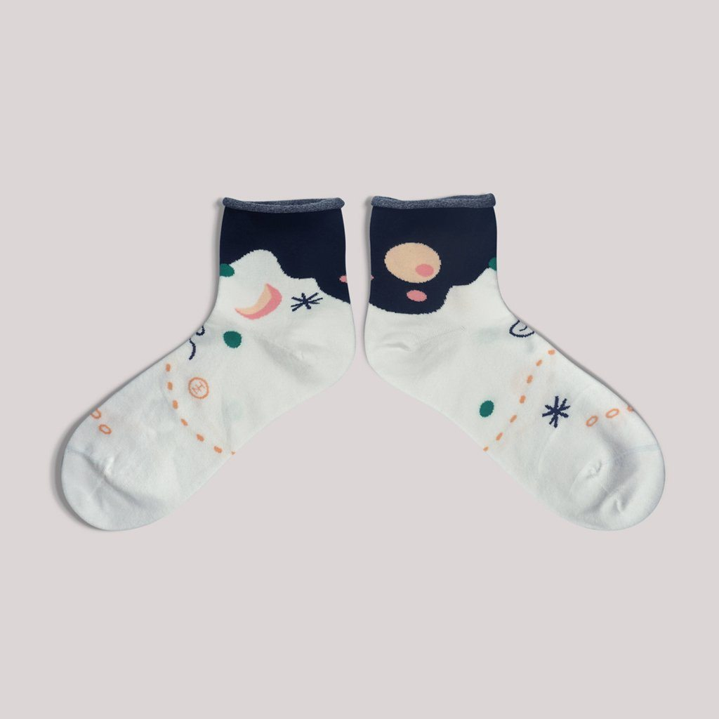 Moon & Sun Off White Quarter Socks - Socks - GoodPair - Naiise