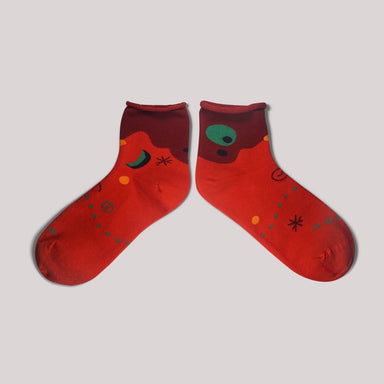 Moon & Sun Red Quarter Socks - Socks - GoodPair - Naiise