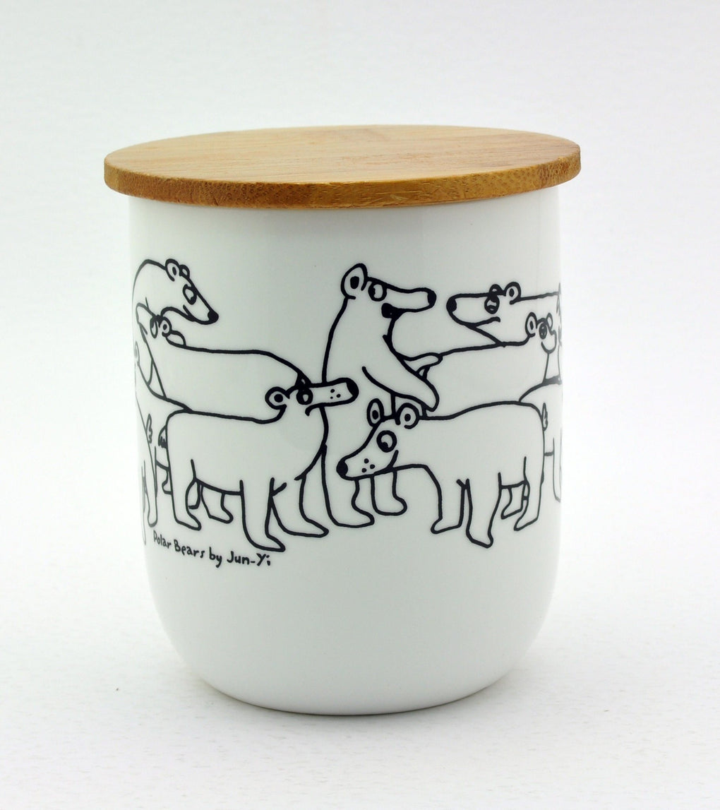 Mug with Wooden Lid - Polar Bears Mugs The Animal Project