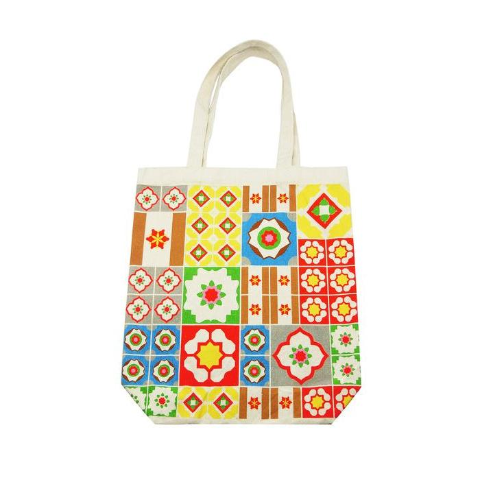 Multi Coloured Peranakan Tiles Canvas Bag Local Tote Bags Now&Then