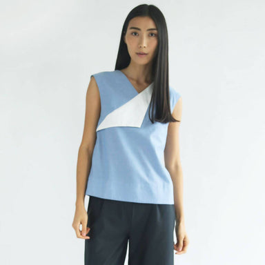 Navigate Contrast Colour Flap Top Women's Tops Salient Label