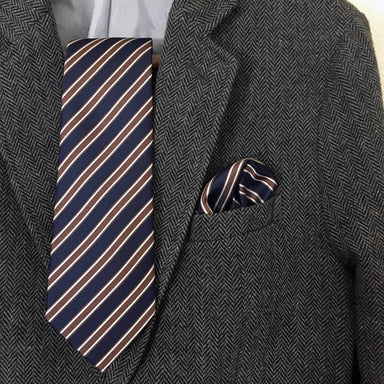 Navy And Coffee Brown Stripe Set - Ties - Tuesday Evening - Naiise