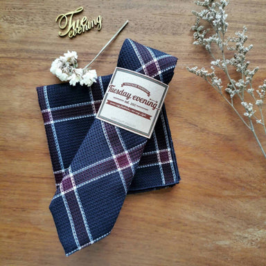 Navy And Red Plaid Set - Ties - Tuesday Evening - Naiise