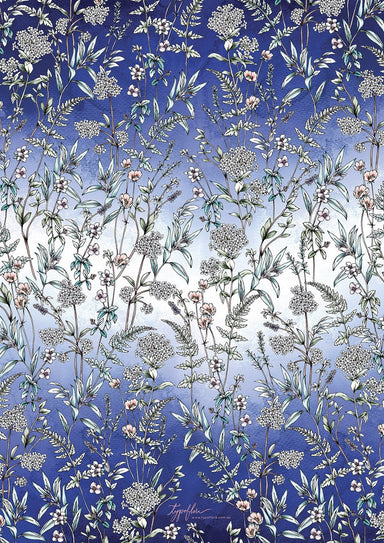 Navy Wildflower Giftwrap Wrapping Papers Typoflora