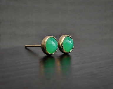 Chrysoprase 6mm 14K Gold Earrings Earring Studs SaruchiRJewellery