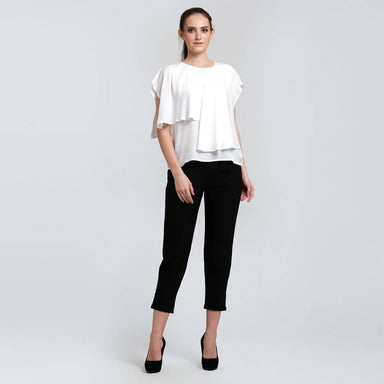 Magdelena Soft Viscose Layered Top in Vivid White - Women's Tops - Salient Label - Naiise