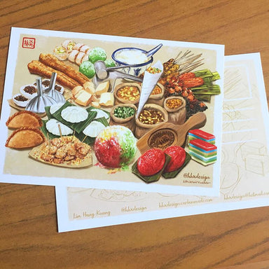 Nostalgic Singapore Street Snacks Post Card - Local Postcards - Lim Hang Kwong - Naiise
