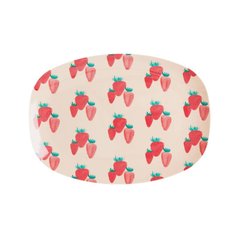 Rectangular Melamine Plate with Strawberry Print - Small - Kitchenware - The Children's Showcase - Naiise