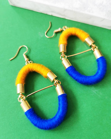 Crossbar Rope Earrings - Electric Blue, Mustard - Earrings - Playtime Rebs Studio - Naiise