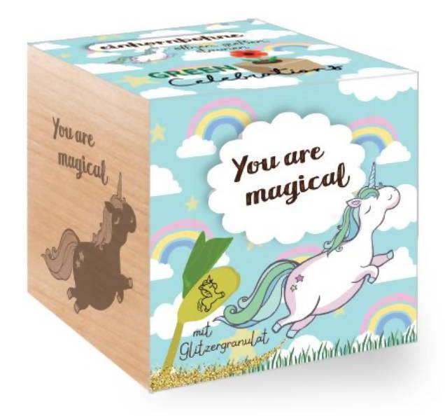 Ecocubes Feel Green Unicorn Bean - You Are Magical Plants The Planet Collection