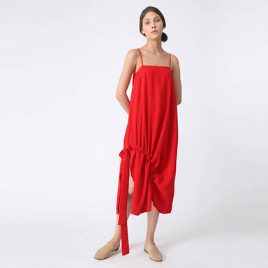 Kai Midi Drawstring Dress - Scarlet - Dresses - Salient Label - Naiise