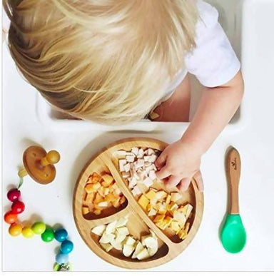 Bamboo Stay Put Suction Baby Divided Plate + Spoon - Green - Kids Utensils - The Children's Showcase - Naiise
