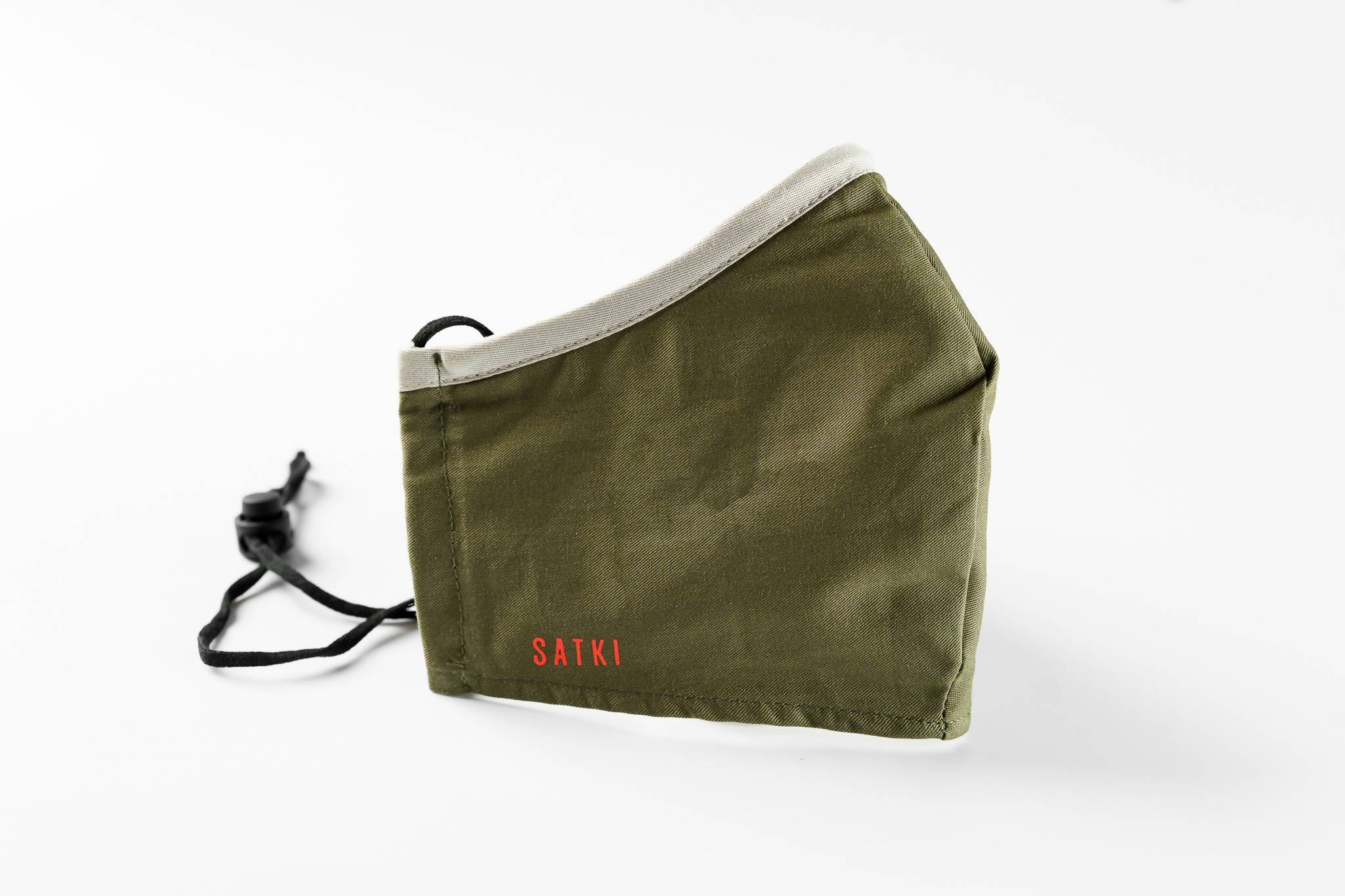 Olive Green mask with Grey edge - Fabric Masks - Lunchmoney - Naiise