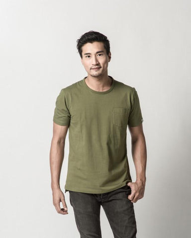 Olive Green Plain Pocket Signature Tee (ATSS1503) Men's T-shirts Cut & Paste