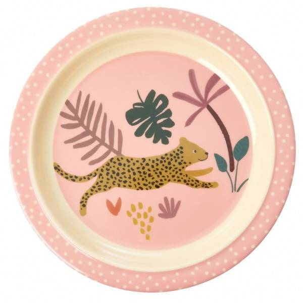 Melamine Kids Lunch Plate with Pink Jungle Animals - Kitchenware - The Children's Showcase - Naiise
