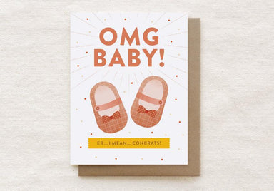OMG Baby! (Girl) - New Baby, Baby Shower Greeting Card New Baby Cards Quirky Paper Co.