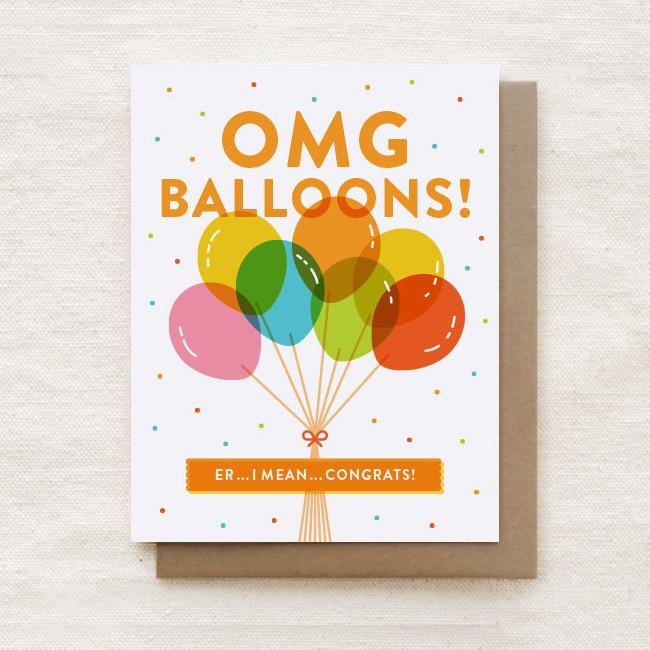 OMG Balloons! - Congratulations Greeting Card - Congratulations Cards - Quirky Paper Co. - Naiise