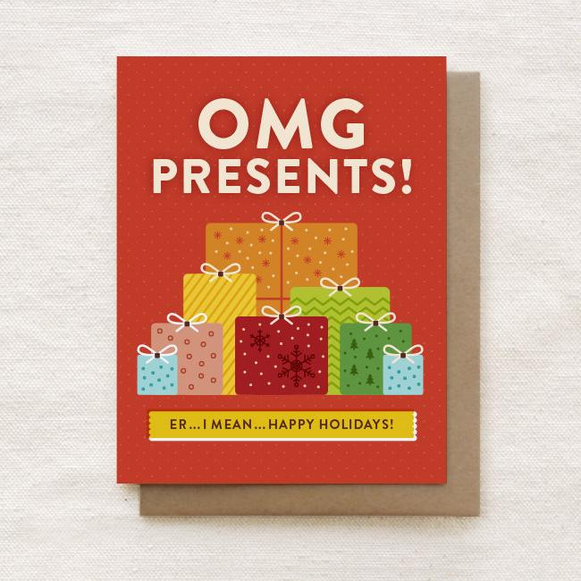 OMG Presents - Happy Holidays, Christmas Greeting Card - Christmas Cards - Quirky Paper Co. - Naiise