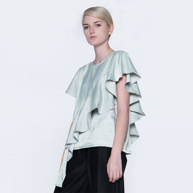 Ophelia Ruffled Top in Green Lily Women's Tops Salient Label