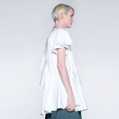 Ophelia Ruffled Top in Star White Women's Tops Salient Label