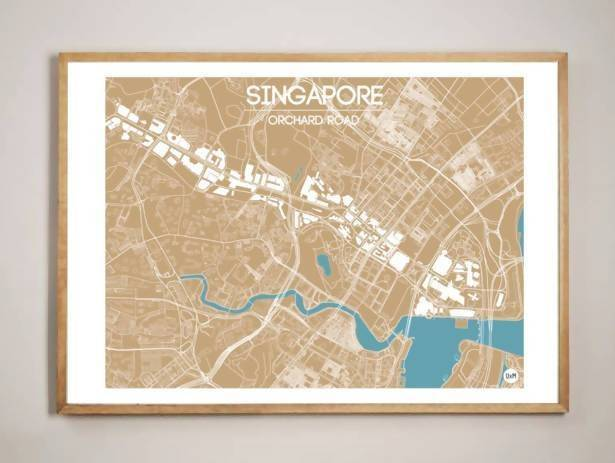 Orchard Road Map - Bronze Local Prints URBAN X MAPS Unframed