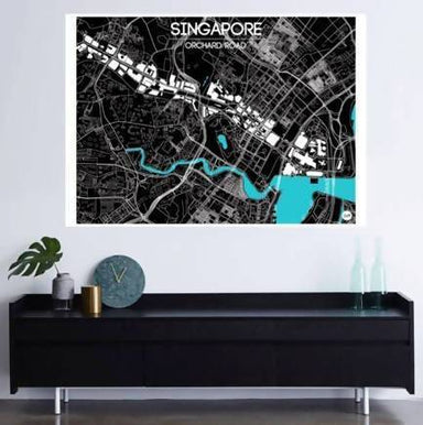 Orchard Road Map - Cyan Local Prints URBAN X MAPS