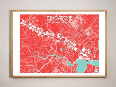 Orchard Road Map - Red Local Prints URBAN X MAPS Framed