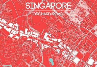 Orchard Road Map - Red Local Prints URBAN X MAPS Unframed