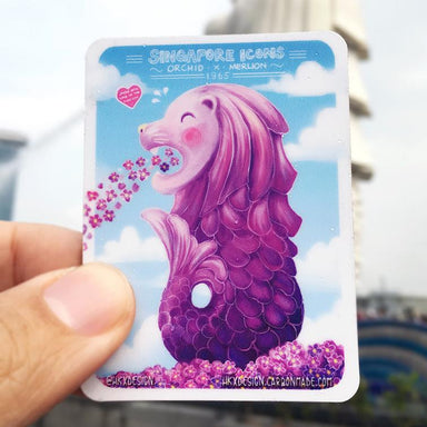 Orchid Merlion Fridge Magnet Local Magnets Lim Hang Kwong