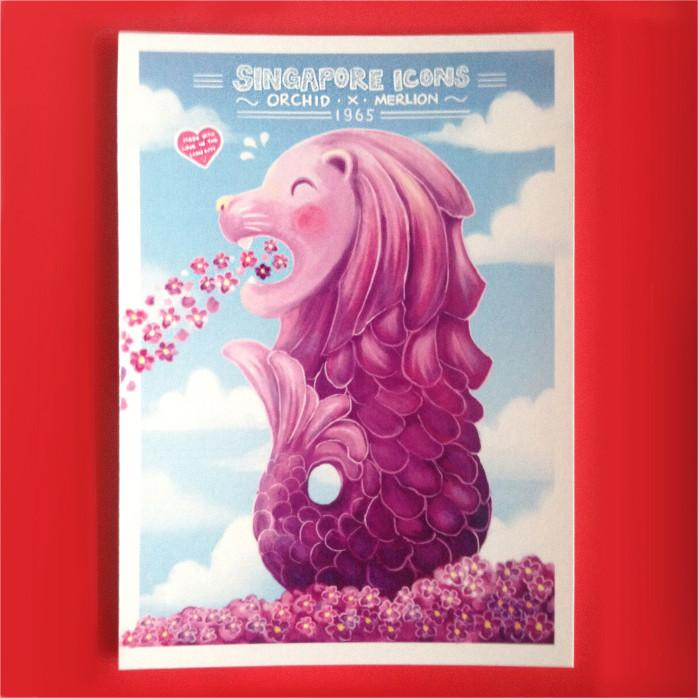 Orchid Merlion (Singapore Icons) Postcard Local Postcards Lim Hang Kwong