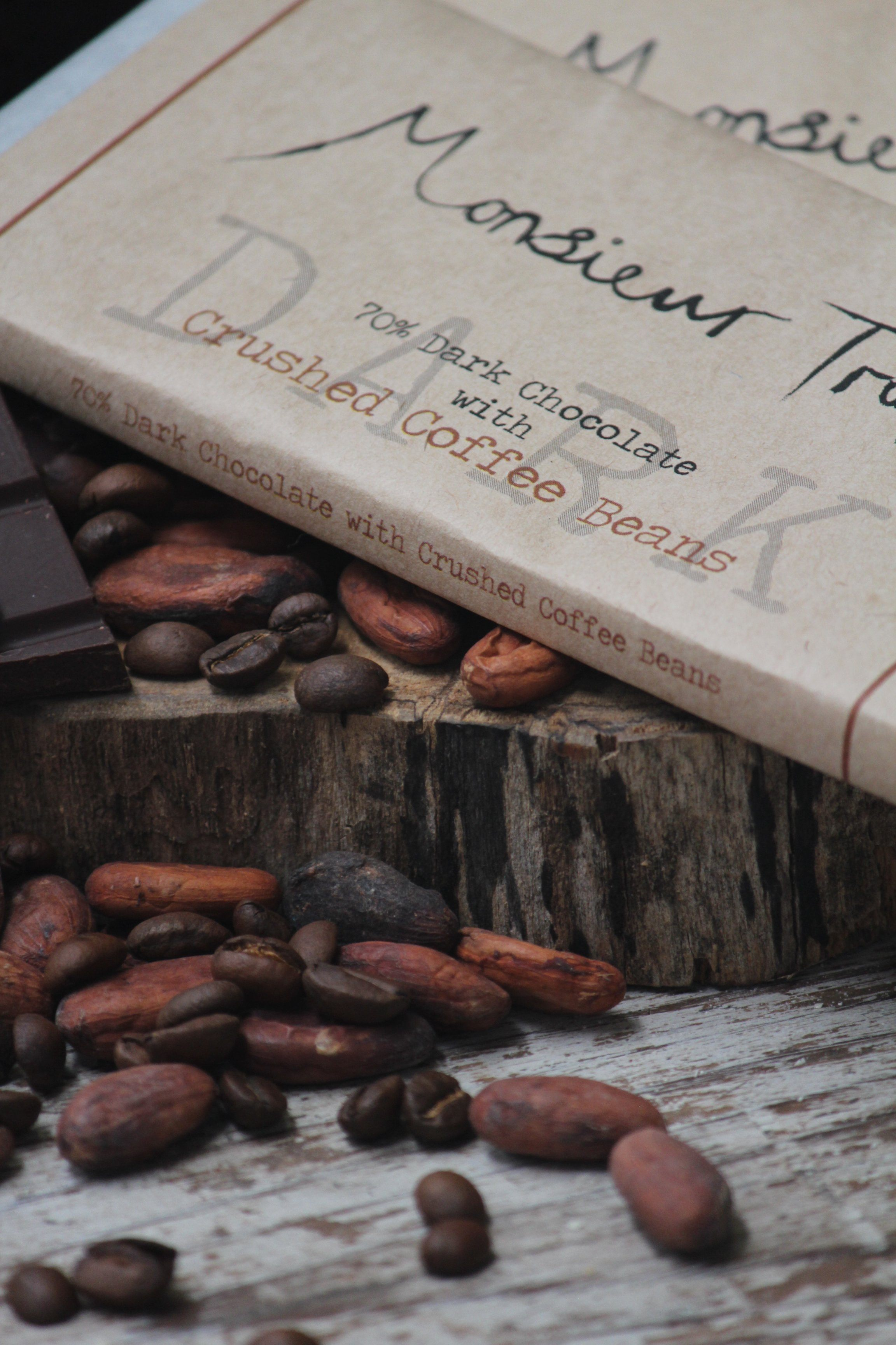Organic 70% Dark Chocolate with Crushed Coffee Beans (MONSIEUR TRUFFE) Chocolates Beans to Bars
