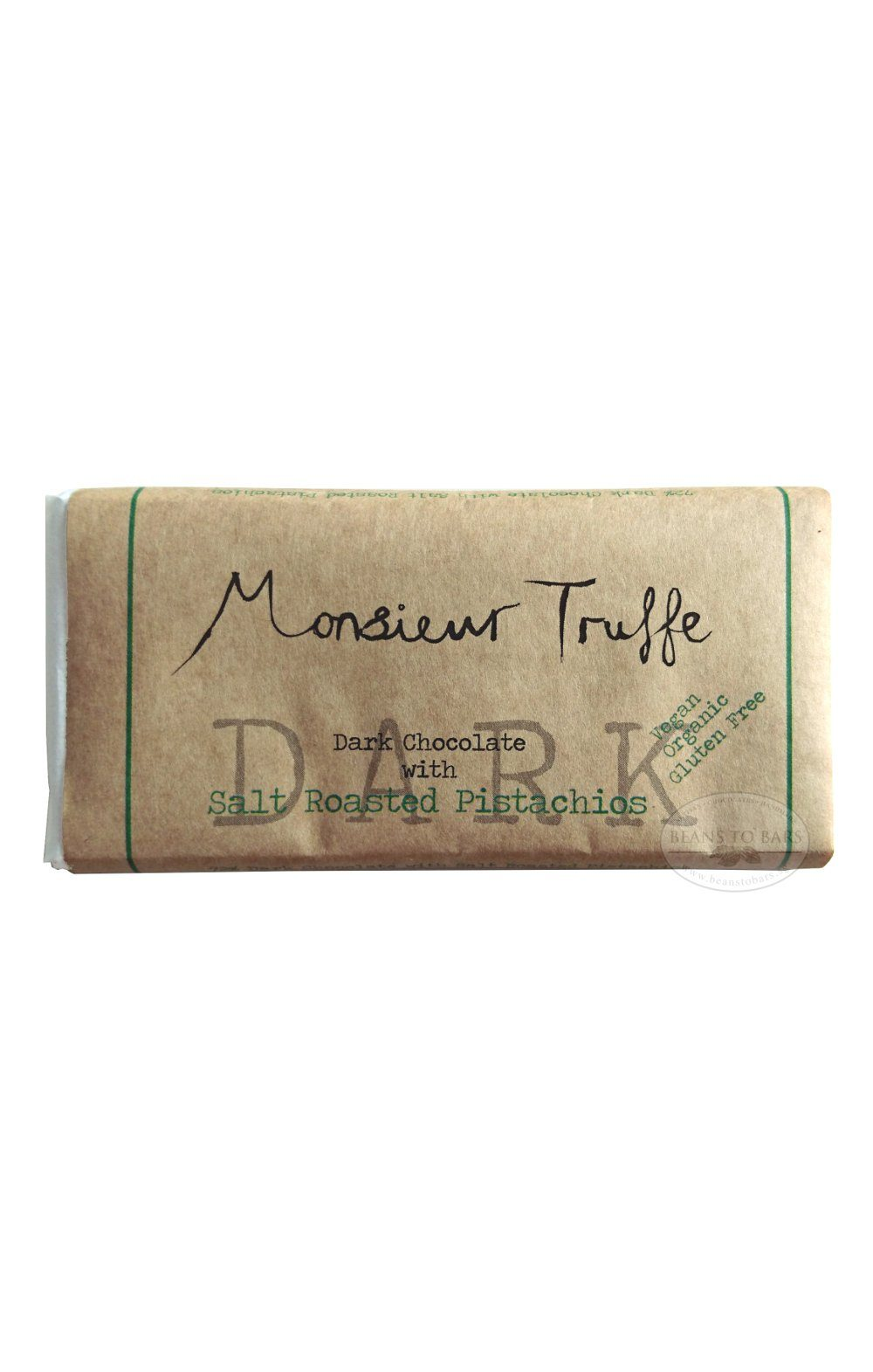 Organic 72% Dark Chocolate with Salted Roasted Pistachios (MONSIEUR TRUFFE) Chocolates Beans to Bars