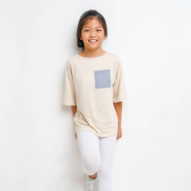Organic Cotton Top with Striped Pocket - Girls Tops - twopluso - Naiise
