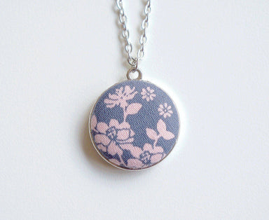 Ormanda Rose Handmade Fabric Button Necklace - Necklaces - Paperdaise Accessories - Naiise