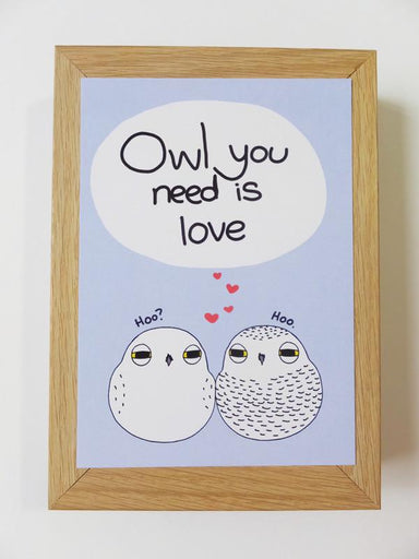Owl - Owl You Need Is Love Postcard Postcards Steak & Eggs Please