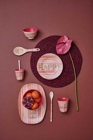 Melamine Rectangular Plate with Pink 'HAPPY' Print - Kitchenware - The Children's Showcase - Naiise