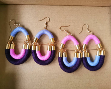 Crossloop Rope Earrings - Sky Blue/ Quartz Pink/ Violet - Earrings - Playtime Rebs Studio - Naiise