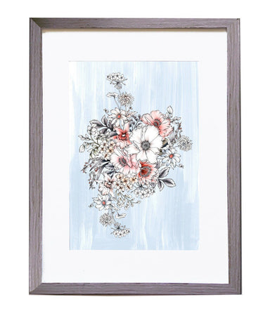 Pale Blue Bouquet Art Print Prints Typoflora