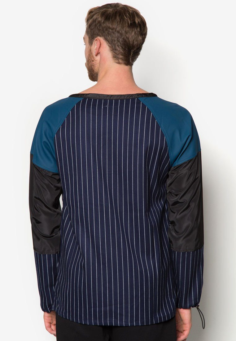 Panelled Leather Pinstripe Sweater - Men's Outerwear - CMDI - Naiise
