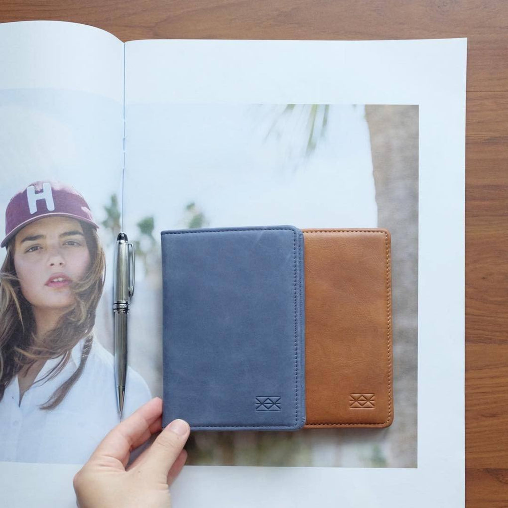 Passport Wallet Passport Holders Welkin & Spine Navy Blue